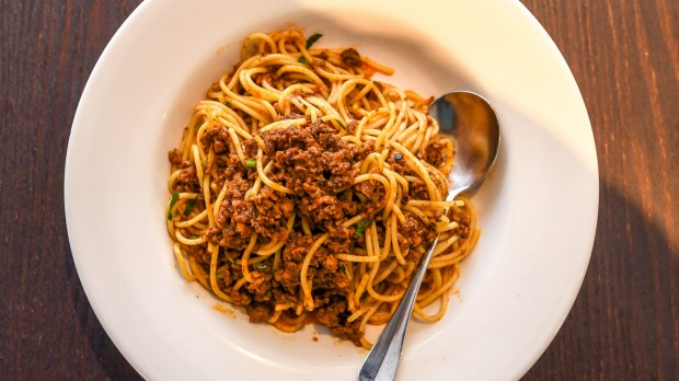 Triple threat: Spaghetti bolognese made with pork, veal and beef.