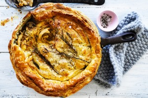 Golden-topped pot pie packed with a creamy chicken filling, sweet leeks and mushrooms.