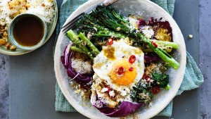 Danielle Alvarez's warm broccoli and radicchio salad with anchovy and chilli dressing.