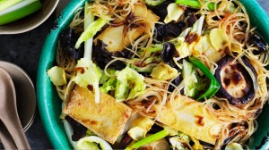 Shiitake, tofu and cabbage stir-fry.