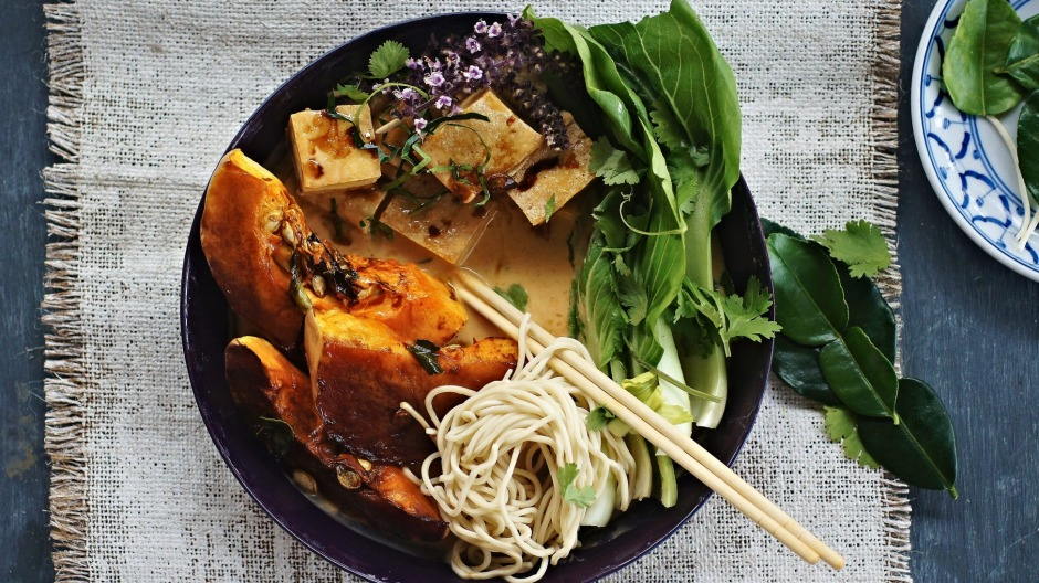 Roast pumpkin, fried tofu and coconut laksa.