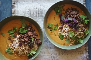 Laksa inspired by spicy Sichuan dandan noodles.