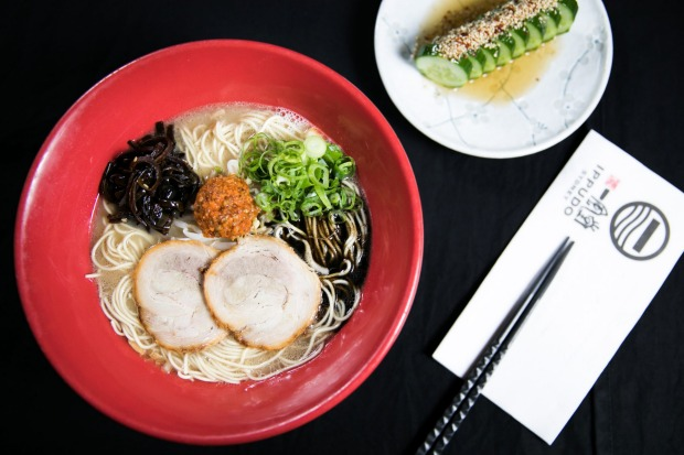 Ippudo's signature Shiromaru Motoaji (creamy tonkatsu ramen with miso paste, garlic oil and pork belly).