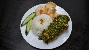 Ayam cabe ijo - fried chicken with spicy green chilli relish.