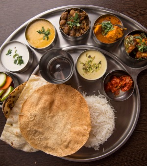 North Indian thali at Taj Indian Sweets & Restaurant.