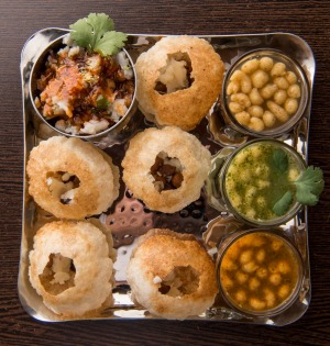 Pani puri at Taj Indian Sweets & Restaurant.