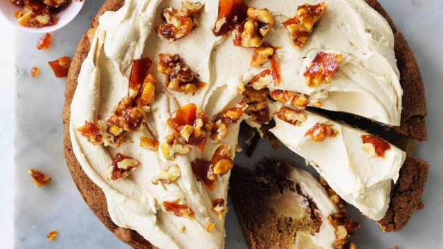 Helen Goh's apple cake, icing and praline optional.