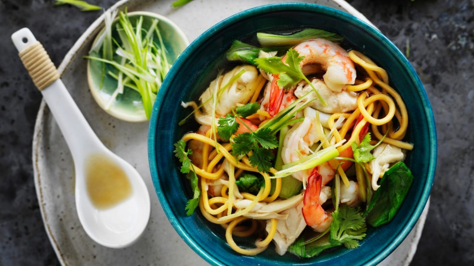 Kylie Kwong's home-style Hokkien noodle seafood soup.