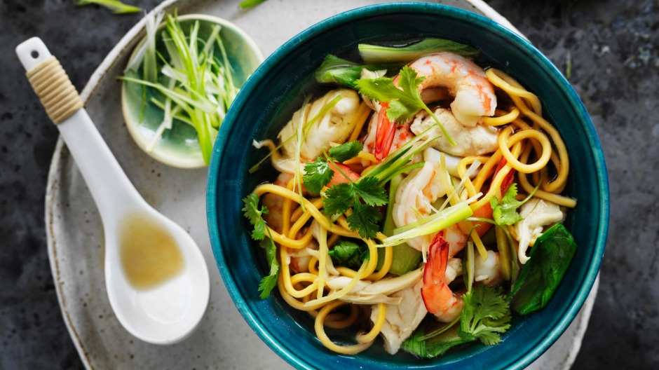 Use this stock as the base of Kylie Kwong's Hokkien noodle soup with squid, prawns and fish.