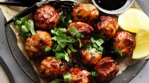 Neil Perry's Japanese-style chicken meatballs.