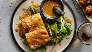 Japanese-style mackerel simmered in miso