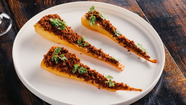 Confit parsnips with Kashmiri chilli crumb.
