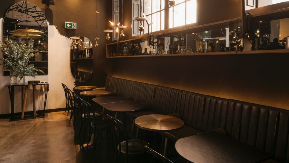 Pascale Gomes-McNabb has furnished the Bentley bar with brass, timber tables and waxed leather banquettes.