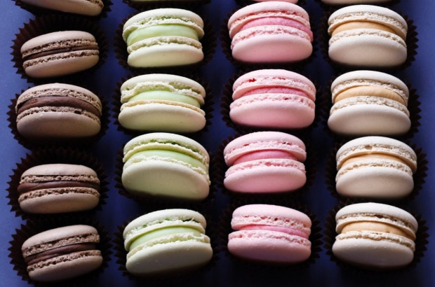 Chocolate, mint, raspberry and caramel macarons <a ...