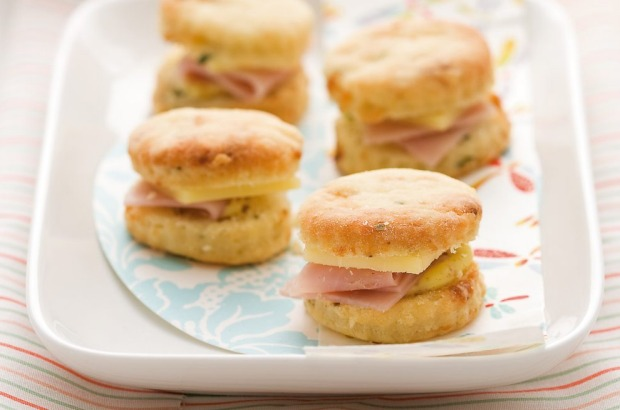 Savoury bites: mini blue cheese and chive scones with ham, mustard and more cheese <a ...