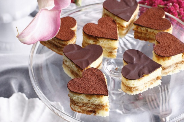 Cheat and use store-bought sponge for these mini tiramisu hearts <a ...