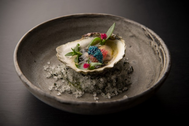 Angasi oyster with finger lime and scampi caviar from the Bentley bar menu.