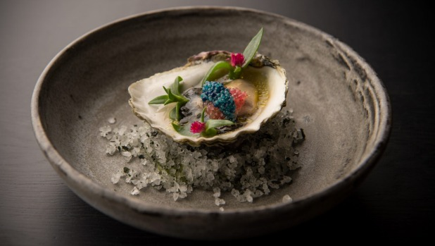 Angasi oyster with finger lime and scampi caviar.