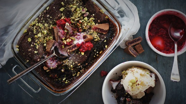 Chocolate, raspberry and Turkish delight self-saucing pudding.