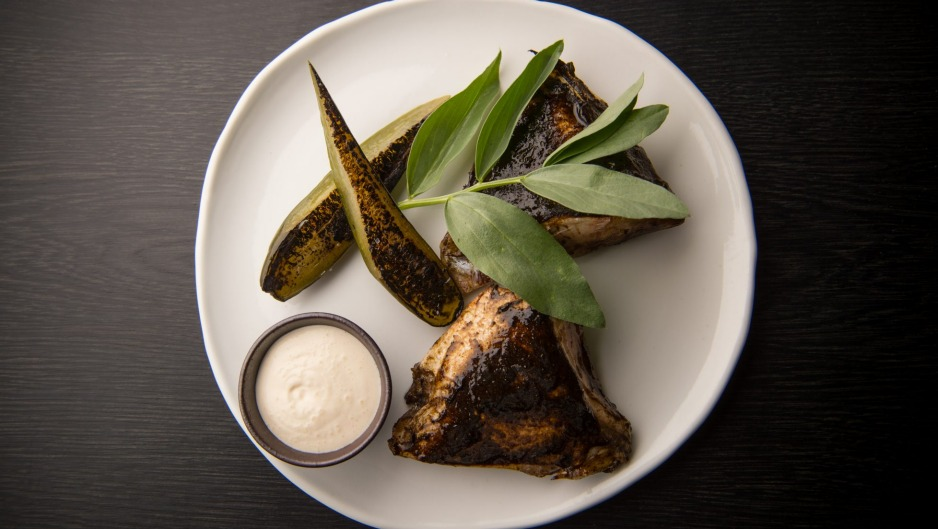Barbeuced kingfish collar with cucumber and smoked yoghurt.