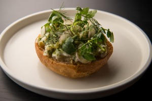 Toothfish sandwich with padron peppers and watercress.
