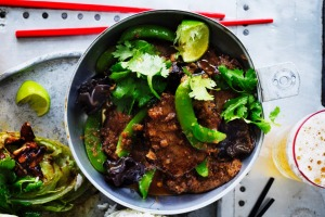 Thai-style beef with sugar snap peas