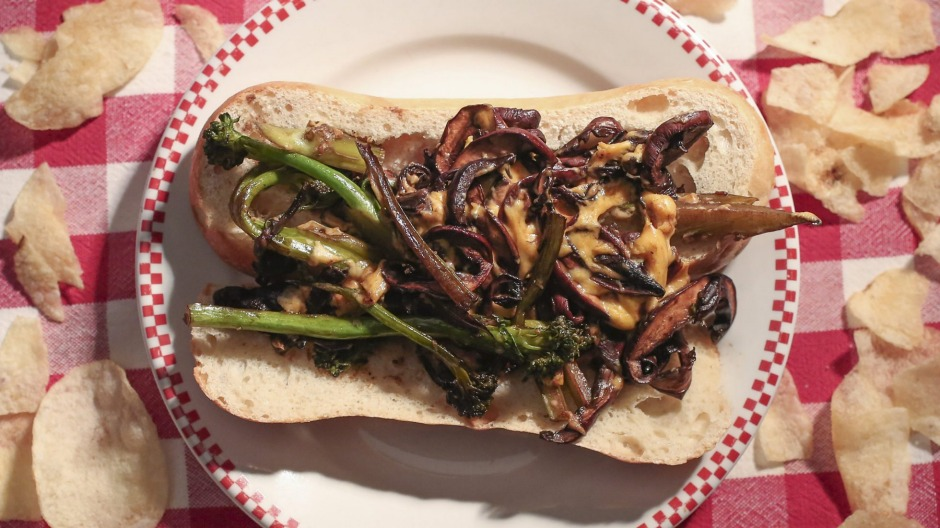 Treat yourself: Philly-style broccolini, mushroom and cheese sandwich.