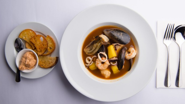 Bourride of market fish, mussels and squid.
