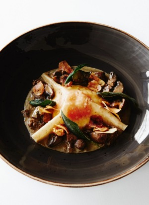 Autumn Harvest – confit duck yolk, chestnut pasta, foraged mushrooms, celeriac puree and chestnut chips.