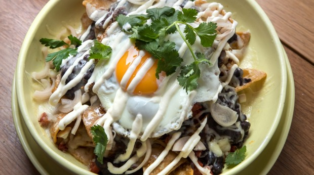 Chilaquiles (breakfast nachos).