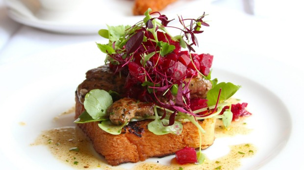 Pan-fried chicken livers with apple and beetroot chutney at English's of Brighton.