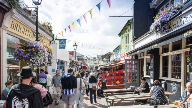 A pedestrian shopping street in North Laine, Brighton.