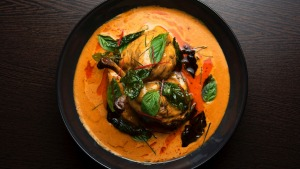 Panang curry with duck confit and roast pumpkin.