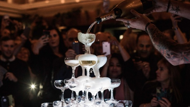 A champagne tower at Mrs Jones.