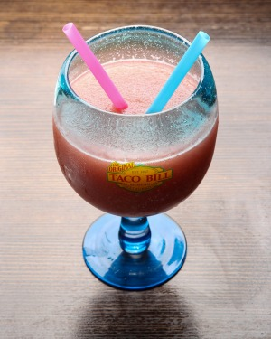 Margaritas range in size from 'I'm driving' to comic fishbowl.