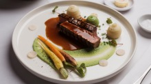 Cootamundra grass-fed lamb loin with heirloom carrots, pomme mousseline and pea puree.