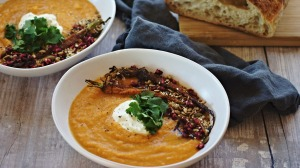Roasty-toasty: Spiced carrot and sweet potato soup with toasted seeds and roasted carrots.