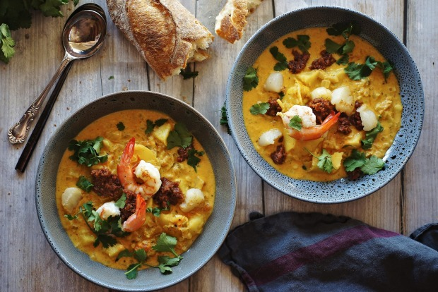 Chunky chowder: Saffron-tinted seafood and potato soup with chorizo jam <a ...