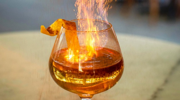 A flaming cocktail at love.fish.