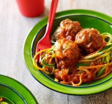 'Spaghetti' and meatballs; a gluten-free alternative using zucchini strips.