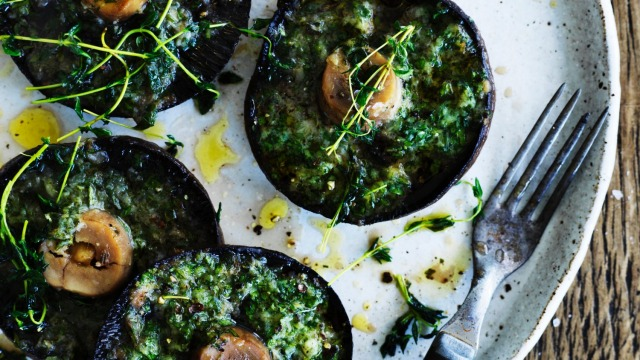 Andrew McConnell's baked garlic field mushrooms recipe.