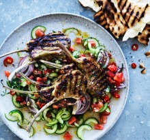 Neil Perry's barbecued marinated lamb cutlets with spicy mint and cucumber salsa recipe.