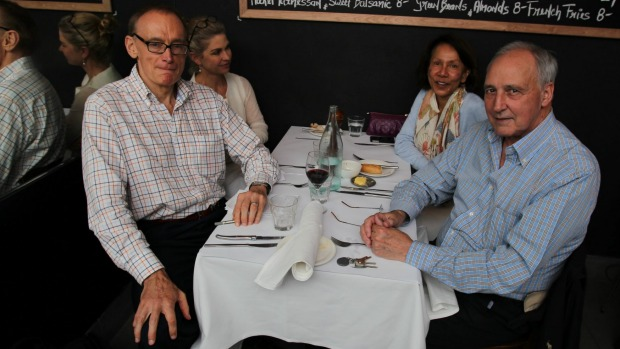 Bob Carr (left), Julieanne Newbould, Helena Carr and former Australian prime minister Paul Keating at Macleay Street ...