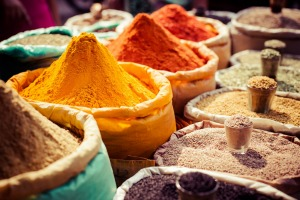 Bags of spices on sale at an Indian market.