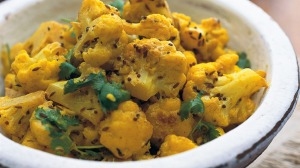 Indian-spiced cauliflower.