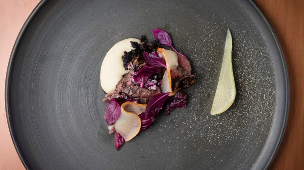 Char-grilled kangaroo, pickled pear, radicchio and juniper.