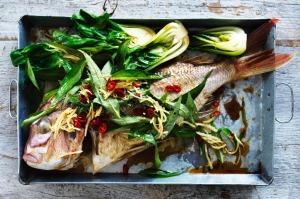 Steamed snapper with fried ginger, chilli and Vietnamese mint.