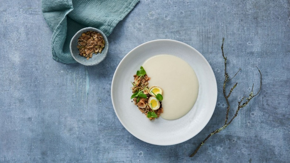 Parsnip veloute with crisp quail's egg, roasted chestnut, saltbush and wild mushroom.
