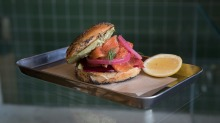 House-made bagel filled with smoked salmon, cream cheese, pickled beet and red onion.