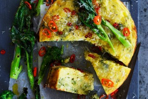 Helen Goh's roasted broccoli, chilli and ricotta cake.